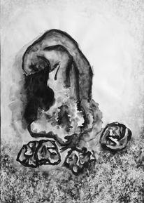 Schwarz weiß, Acrylmalerei, Wasserfarben, Malerei