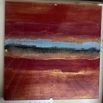 Abstrakte malerei, Landschaft, Sonnenuntergang, See