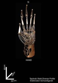 Hand, Stahl, Skulptur, Körper