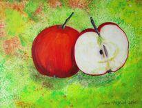 Stillleben, Rot, Grün, Apfel