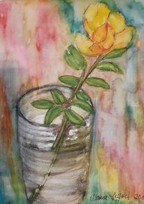 Pflanzen, Blumen, Rose, Aquarell