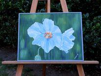 Blumen, Ölmalerei, Monument, Hellblau