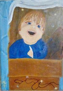 Kind, Karton, Sohn, Malerei