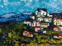 Dorf, Malerei, Berge, Landschaft