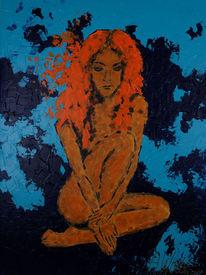 Portrait, Frau, Blau, Abstrakt