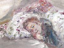 Bett, Freundin, Intimität, Ölmalerei