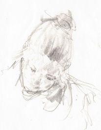 Skizze, Jung, Bleistiftzeichnung, Studie