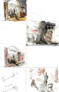 Raum, Studie, Aquarellmalerei, Jugendstil