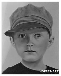 Zeichnung, Junge, Portrait, Bleistiftzeichnung