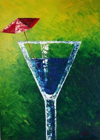Regenschirm, Cafe, Spachteltechnik, Glas