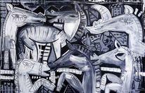 Schwarz, Mischtechnik, Weiß malerei, Kubismus
