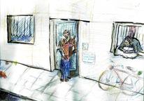 Geschichte, Wohnung, Comic, Illustration