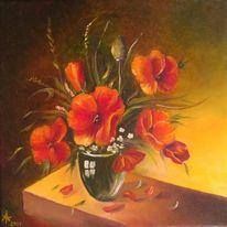 Malerei, Blumenstrauß, Mohn, Ölmalerei
