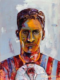 Portrait, Spontanrealismus, Fußball, Spachtel