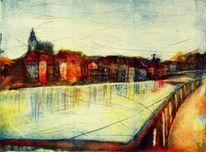 Rhein, Die malerische, Farbaquatinta, Tiefdruck