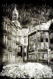 Winternacht, Schloßplatz, Kaltnadelradierung, Druckgrafik