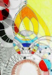 Bschoeni, Abstrakt, Rot, Gelb