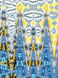Blau, Bschoeni, Abstrakt, Gelb