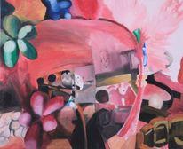 Spiegel, Blumen, Rosa, Brille