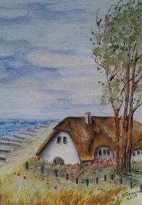Windflüchter, Ostsee, Ahrenshoop, Reetdachhaus