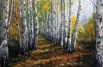 Wald, Landschaft, Malerei, Natur