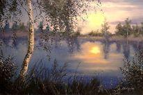 Natur, Fluss, Malerei, Sonne