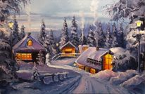 Malerei, Ölmalerei, Landschaft, Zeichnung