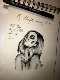 Schwarz weiß, Edding, Mädchen scream, Zeichnung
