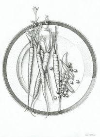 Karotte, Erbe, Porzellan, Tusche
