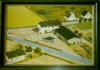 Ort, Haus, Tankstelle, Malerei