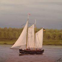 Schiff, Meer, Wind, Malerei
