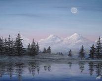 See, Berge, Mond, Malerei
