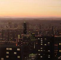 Stadt, Licht, Sonnenuntergang, Malerei