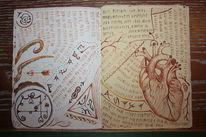 Buch, Schrift, Zeichnung, Füller