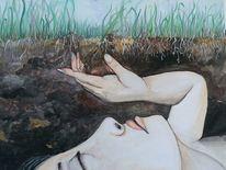 Gras, Natur, Frau, Erde