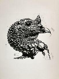 Linolschnitt, Vogel, Pute, Lichtspiel