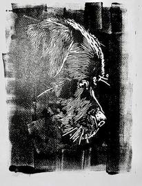 Hund, Rottweiler, Linolschnitt, Nebenbeigekritzel