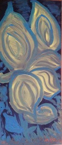 Gelb, Blaue gräser, Gelbe iris, Malerei