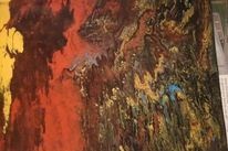 Orange, Acrylfarben, Felsen, Blau