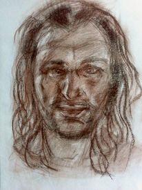 Zeichnung, Portrait, Rötelstift, Zeichnungen