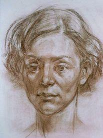 Portrait, Rötelstift, Zeichnung, Zeichnungen