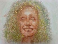 Portrait, Zeichnung, Spring fairy, Frühling