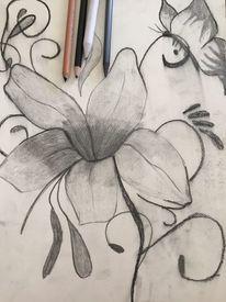 Kohlezeichnung, Schmetterling, Zeichnung, Blumen