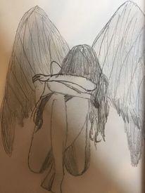 Traurig, Zeichnung, Schwarz weiß, Angel