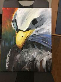 Malerei, Adler, Pinselführung, Acrylmalerei