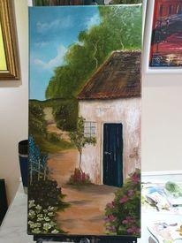 Hütte, Ölmalerei, Weg, Nass in nass