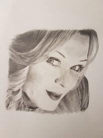 Bleistiftzeichnung, Zeichnung, Schwarzweiß, Portrait