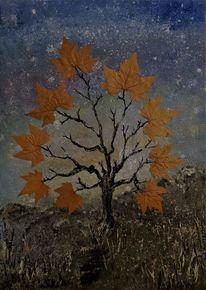Surreal, Mischtechnik, Baum, Malerei