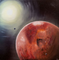 Mond, Roter planet, Weltall, Mars