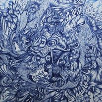 Abstrakt, Kugelschreiber, Zeichnungen, Zeichnung